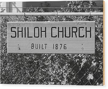 Shiloh Church Sign Birds Landing Ca Wood Print by Troy Montemayor