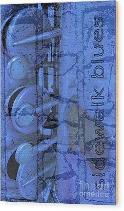 Sidewalk Blues Wood Print by Gwyn Newcombe