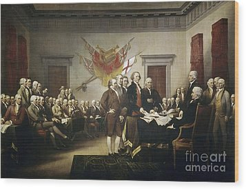 Signing The Declaration Of Independence Wood Print by John Trumbull