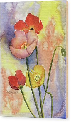 Summer Poppies Wood Print by Vickey Swenson