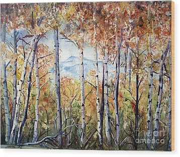 Tetons In Autumn Wood Print by Patricia Pushaw