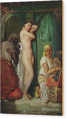 The Bath In The Harem Wood Print by Theodore Chasseriau