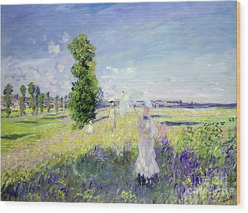 The Walk Wood Print by Claude Monet