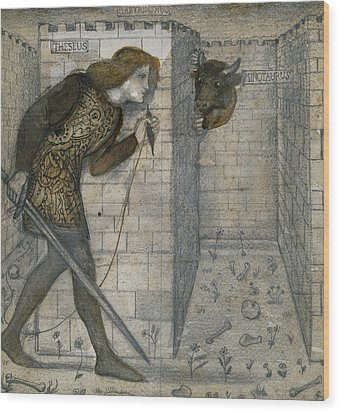 Theseus And The Minotaur In The Labyrinth Wood Print by Edward Burne-Jones