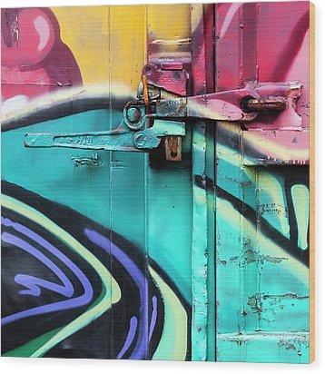 Train Art Abstract Wood Print by Carol Leigh