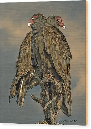 Turkey Vulture Pair Wood Print by Larry Linton