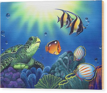 Turtle Dreams Wood Print by Angie Hamlin