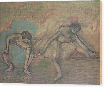 Two Dancers Resting Wood Print by Edgar Degas