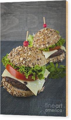 Two Gourmet Hamburgers Wood Print by Elena Elisseeva
