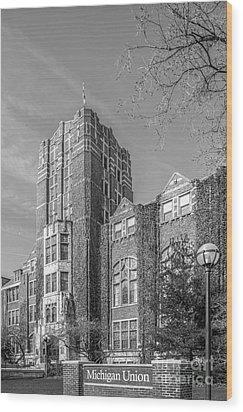 University Of Michigan Union Wood Print by University Icons