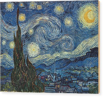 Van Gogh Starry Night Wood Print by Granger