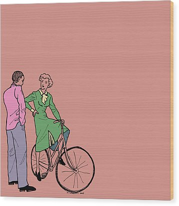 Vintage Bike Couple Wood Print by Karl Addison