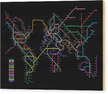 World Metro Map Wood Print by Michael Tompsett