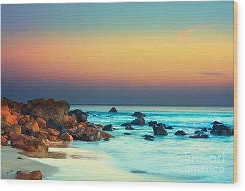 Sunset Wood Print by MotHaiBaPhoto Prints