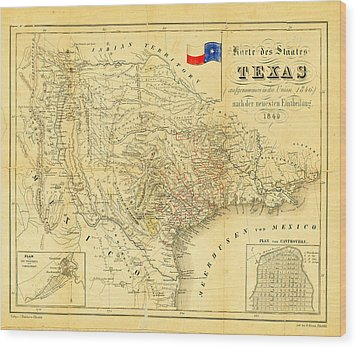 1849 Texas Map Wood Print by Digital Reproductions