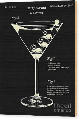1897 Dirty Martini Patent Wood Print by Jon Neidert