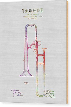 1902 Trombone Patent - Color Wood Print by Aged Pixel