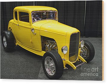 1932 Ford 5 Window Coupe . Yellow . 7d9275 Wood Print by Wingsdomain Art and Photography