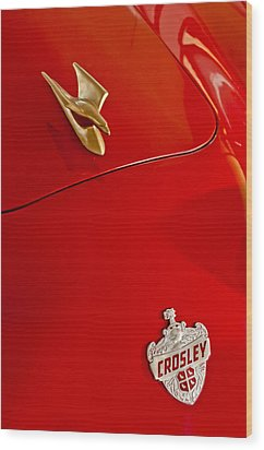 1951 Crosley Hot Shot Hood Ornament Wood Print by Jill Reger