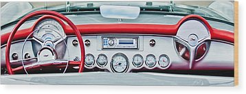 1954 Chevrolet Corvette Dashboard Wood Print by Jill Reger