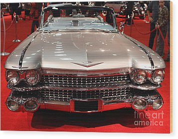 1959 Cadillac Convertible . Front View Wood Print by Wingsdomain Art and Photography