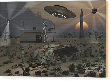 Artists Concept Of A Science Fiction Wood Print by Mark Stevenson