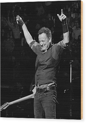 Bruce Springsteen Wood Print by Jeff Ross