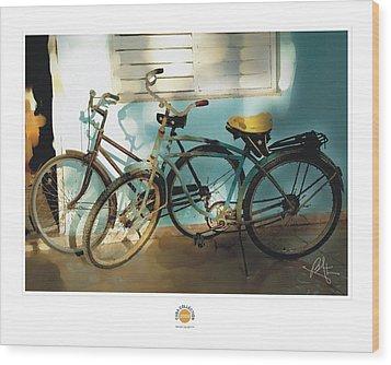 2 Cuban Bicycles Wood Print by Bob Salo