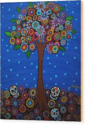 Day Of The Dead Wood Print by Pristine Cartera Turkus