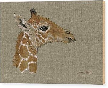 Giraffe Head Study  Wood Print by Juan  Bosco