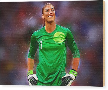 Hope Solo Wood Print by Semih Yurdabak