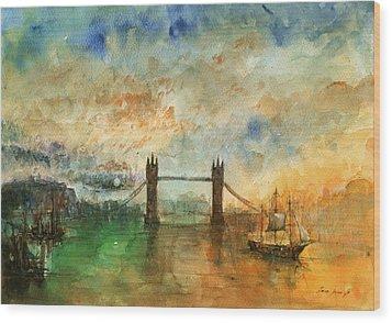 London Watercolor Painting Wood Print by Juan  Bosco