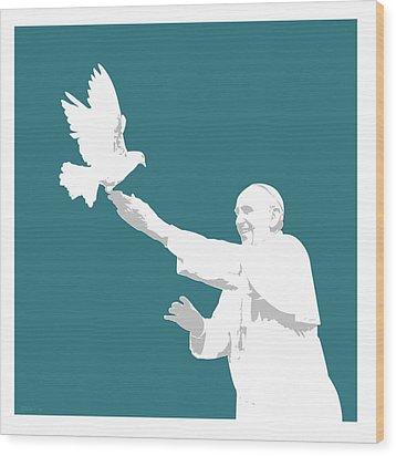 Pope Francis Wood Print by Greg Joens