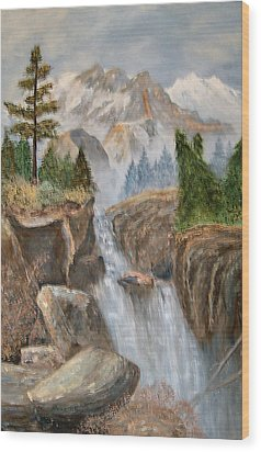 Rocky Mountain Waterfall Wood Print by Alanna Hug-McAnnally
