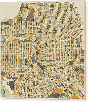 San Francisco Map Wood Print by Jazzberry Blue