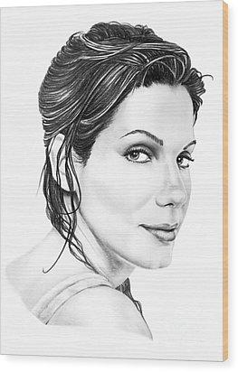 Sandra Bullock Wood Print by Murphy Elliott