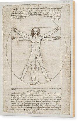 The Proportions Of The Human Figure Wood Print by Leonardo Da Vinci