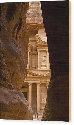 The Treasury Of Petra Wood Print by Michele Burgess