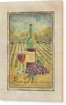 Vineyard Pinot Noir Grapes N Wine - Batik Style Wood Print by Audrey Jeanne Roberts