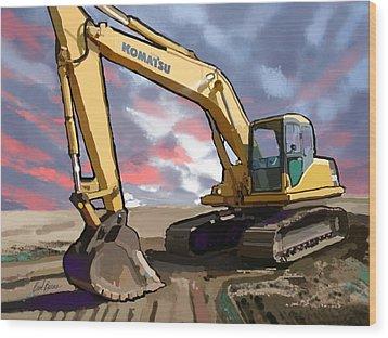 2004 Komatsu Pc200lc-7 Track Excavator Wood Print by Brad Burns