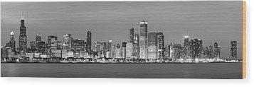 2010 Chicago Skyline Black And White Wood Print by Donald Schwartz