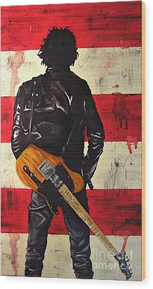 Bruce Springsteen Wood Print by Francesca Agostini