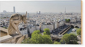 Gargoyle Guarding The Notre Dame Basilica In Paris Wood Print by Pierre Leclerc Photography