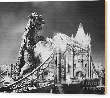 Godzilla Wood Print by Granger