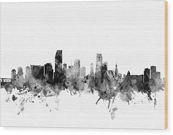 Miami Florida Skyline Wood Print by Michael Tompsett