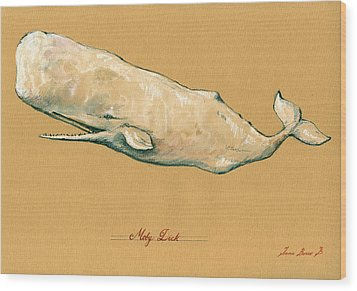 Moby Dick The White Sperm Whale  Wood Print by Juan  Bosco