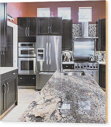 Modern Kitchen Interior Wood Print by Skip Nall