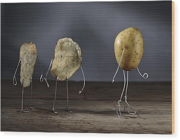 Simple Things - Potatoes Wood Print by Nailia Schwarz