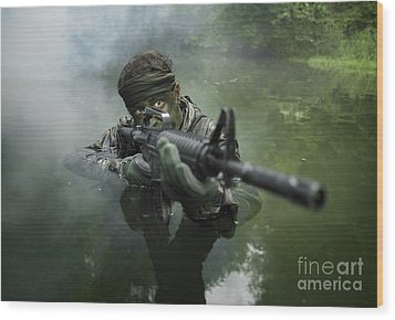 Special Operations Forces Soldier Wood Print by Tom Weber
