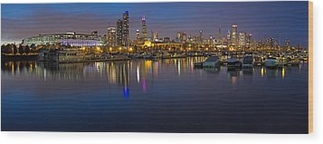 Downtown Chicago From Burnham Harbor Wood Print by Twenty Two North Photography